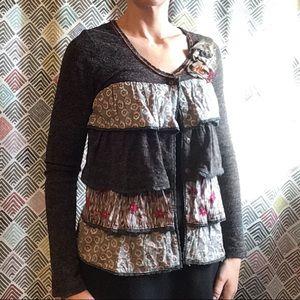 LULUMARI boho ruffled cardigan sweater S (F3)